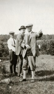 Rufus H. Baker pointing out features on the Baker family homestead, circa 1927 (P06424).