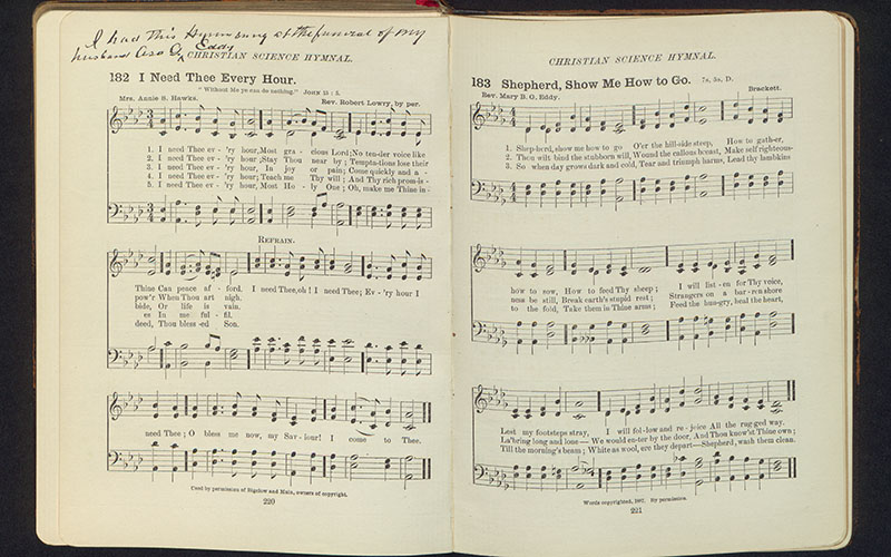 """I Need Thee Every Hour"" alongside a setting of Eddy's poem, ""'Feed My Sheep',"" in Eddy's copy of the Hymnal, c. 1898. B00142."