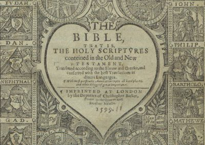 The Bible, that is, the Holy Scriptures conteined in the Olde and Newe Testament, translated according to the Ebrew and Greeke, and conferred with the best translations in divers languages. With most profitable annotations upon all the hard places, and other things of great importance.